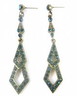 Vintage Art Deco Style Dark Blue Rhinestone Drop Earrings.